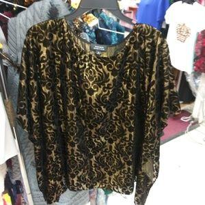 Gold and black velvet top